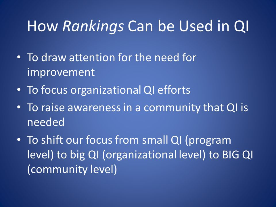 How Rankings Can be Used in QI To draw attention for the need for improvement To focus organizational QI efforts To raise awareness in a community tha