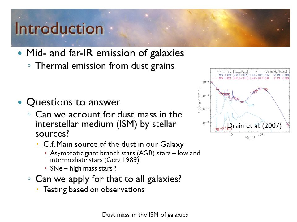 IntroductionIntroduction Mid- and far-IR emission of galaxies ◦ Thermal emission from dust grains Questions to answer ◦ Can we account for dust mass i