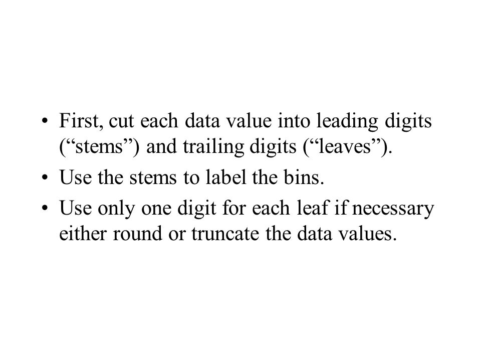 "First, cut each data value into leading digits (""stems"") and trailing digits (""leaves""). Use the stems to label the bins. Use only one digit for each"