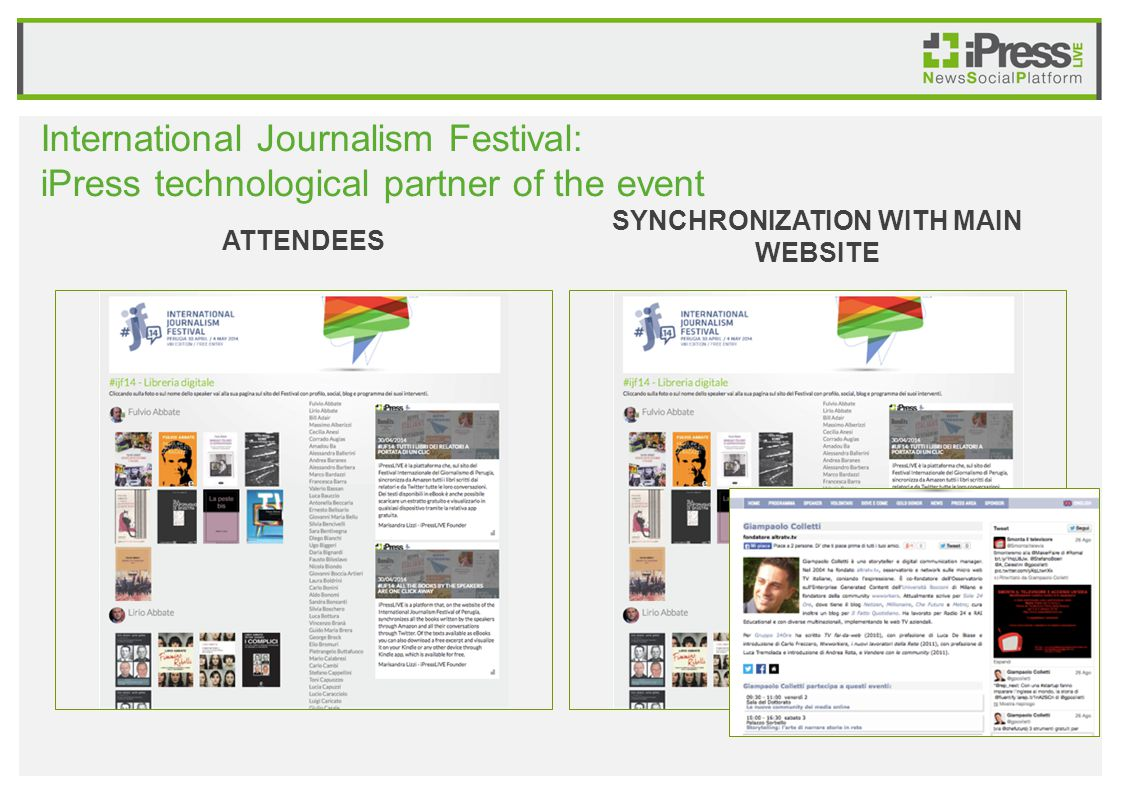 International Journalism Festival: iPress technological partner of the event ATTENDEES SYNCHRONIZATION WITH MAIN WEBSITE
