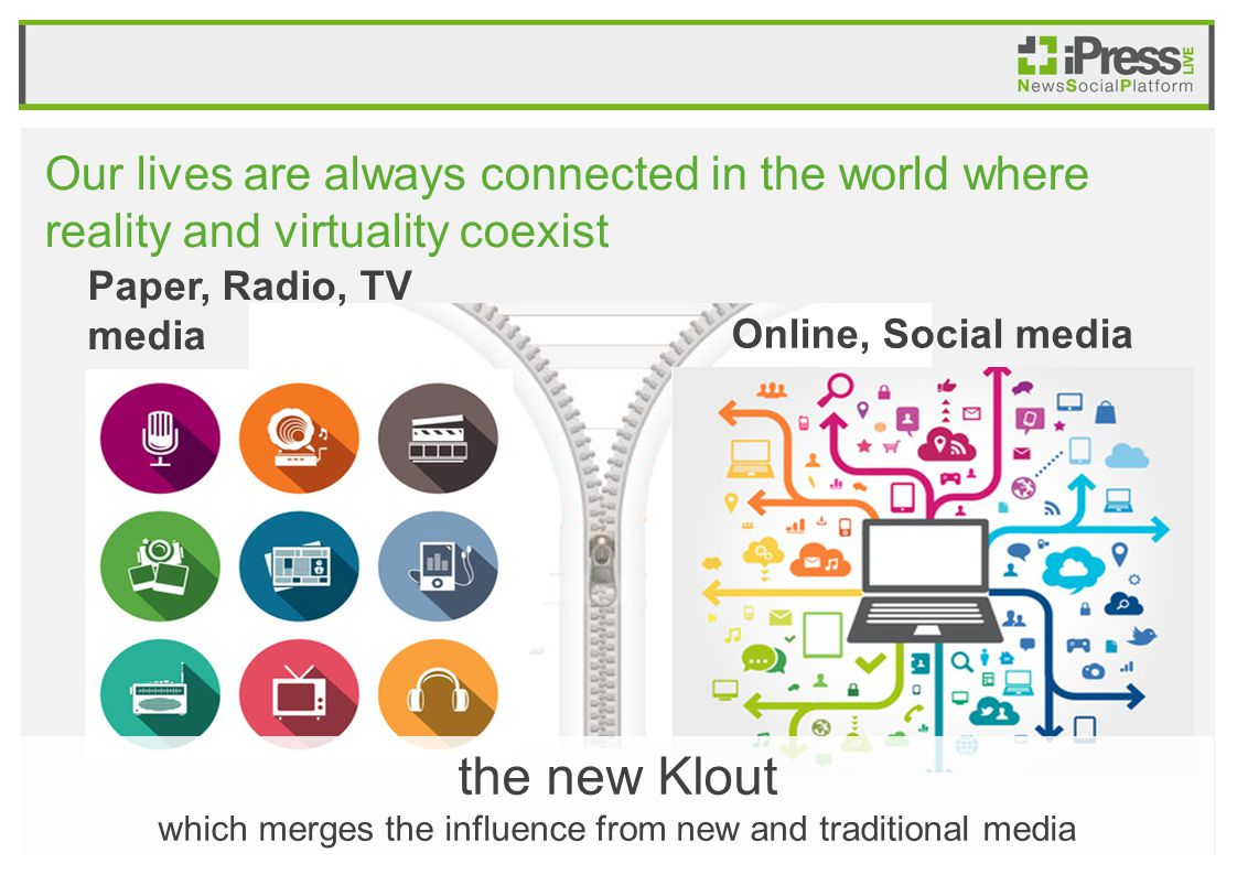 Our lives are always connected in the world where reality and virtuality coexist Paper, Radio, TV media Online, Social media the new Klout which merges the influence from new and traditional media