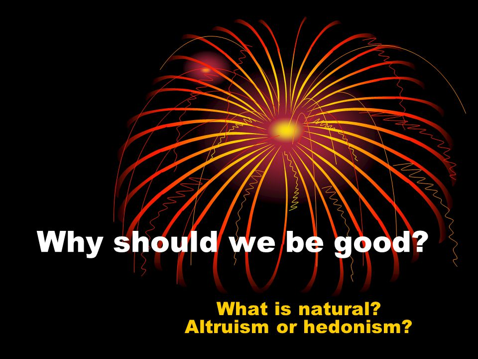 Why should we be good What is natural Altruism or hedonism