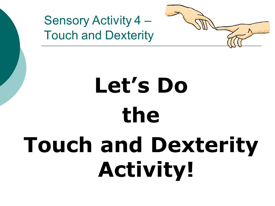 Sensory Activity 4 – Touch and Dexterity Let's Do the Touch and Dexterity Activity!