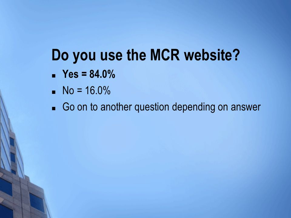 Do you use the MCR website Yes = 84.0% No = 16.0% Go on to another question depending on answer