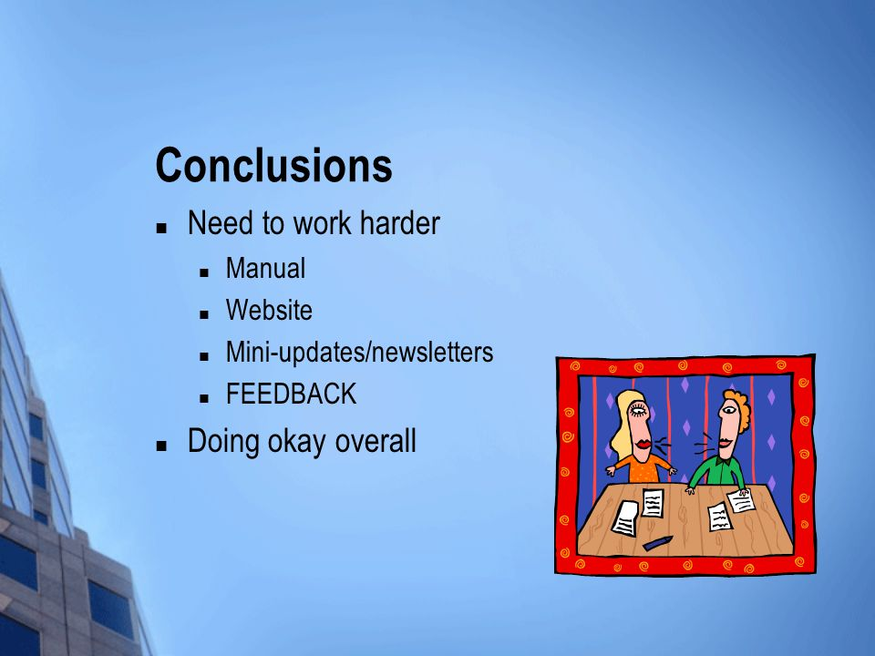 Conclusions Need to work harder Manual Website Mini-updates/newsletters FEEDBACK Doing okay overall