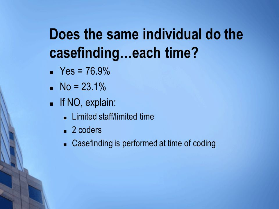 Does the same individual do the casefinding…each time.