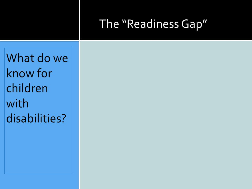 What do we know for children with disabilities The Readiness Gap