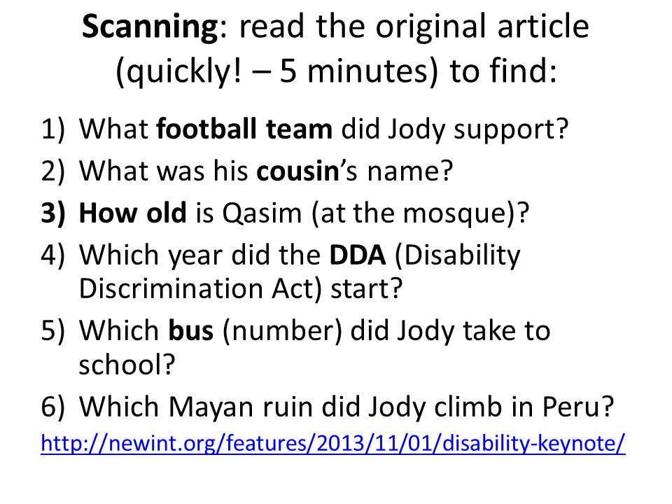 Scanning: read the original article (quickly.