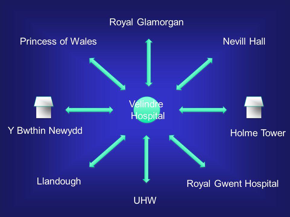Velindre Hospital Princess of Wales Royal Glamorgan Nevill Hall Royal Gwent Hospital UHW Llandough Y Bwthin Newydd Holme Tower