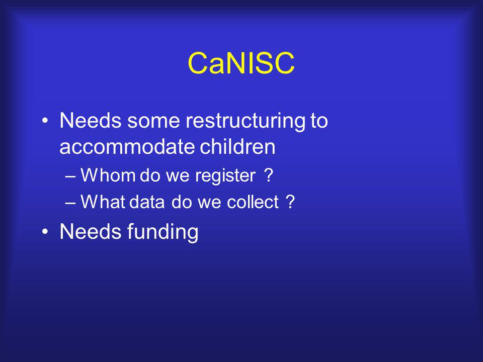 CaNISC Needs some restructuring to accommodate children –Whom do we register ? –What data do we collect ? Needs funding