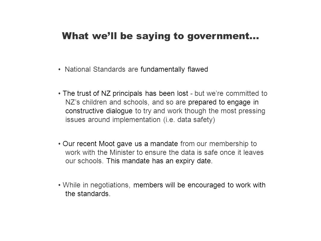 What we'll be saying to government...