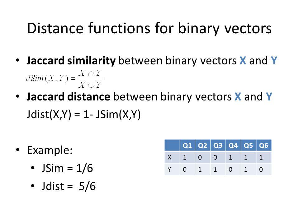 Distance functions for binary vectors Q1Q2Q3Q4Q5Q6 X100111 Y011010 Jaccard similarity between binary vectors X and Y Jaccard distance between binary v