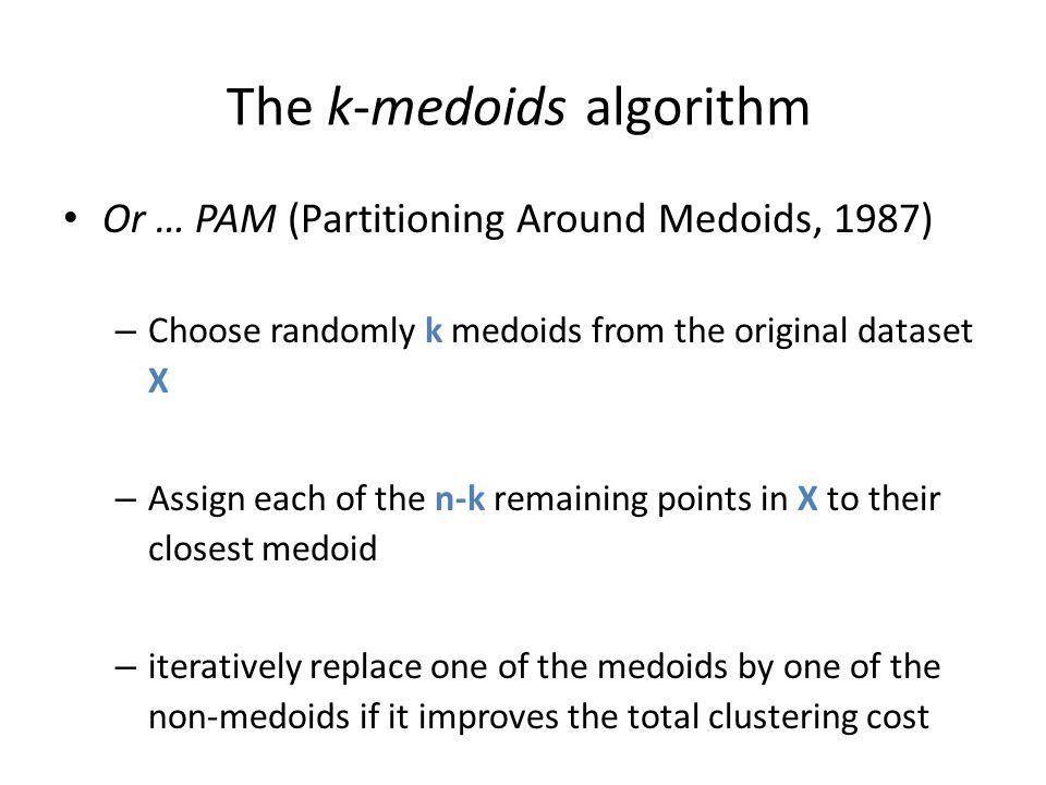The k-medoids algorithm Or … PAM (Partitioning Around Medoids, 1987) – Choose randomly k medoids from the original dataset X – Assign each of the n-k