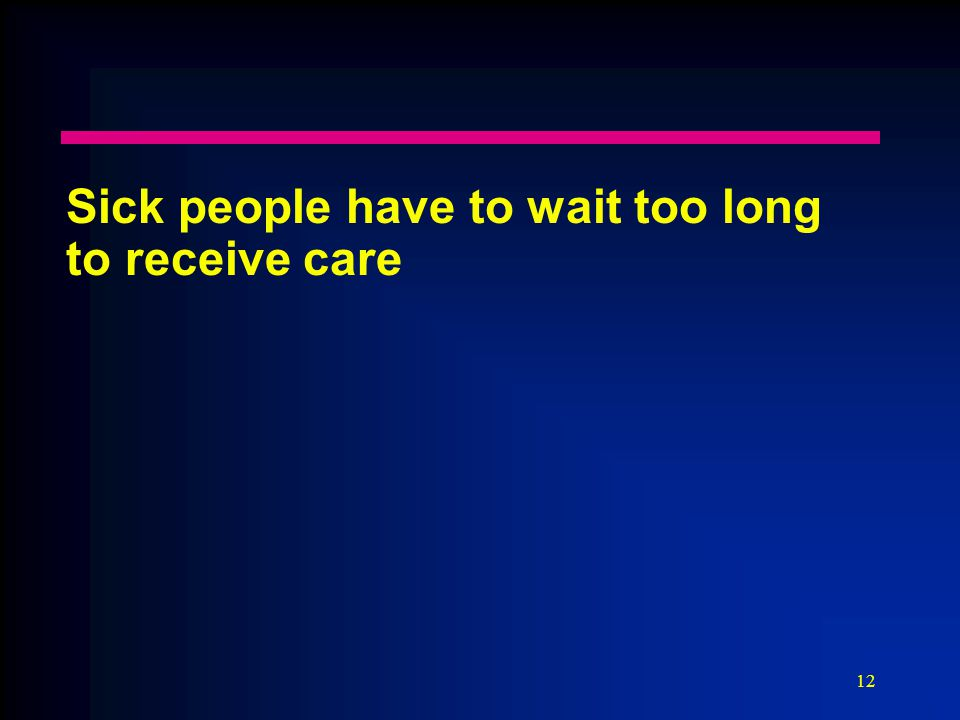 12 Sick people have to wait too long to receive care