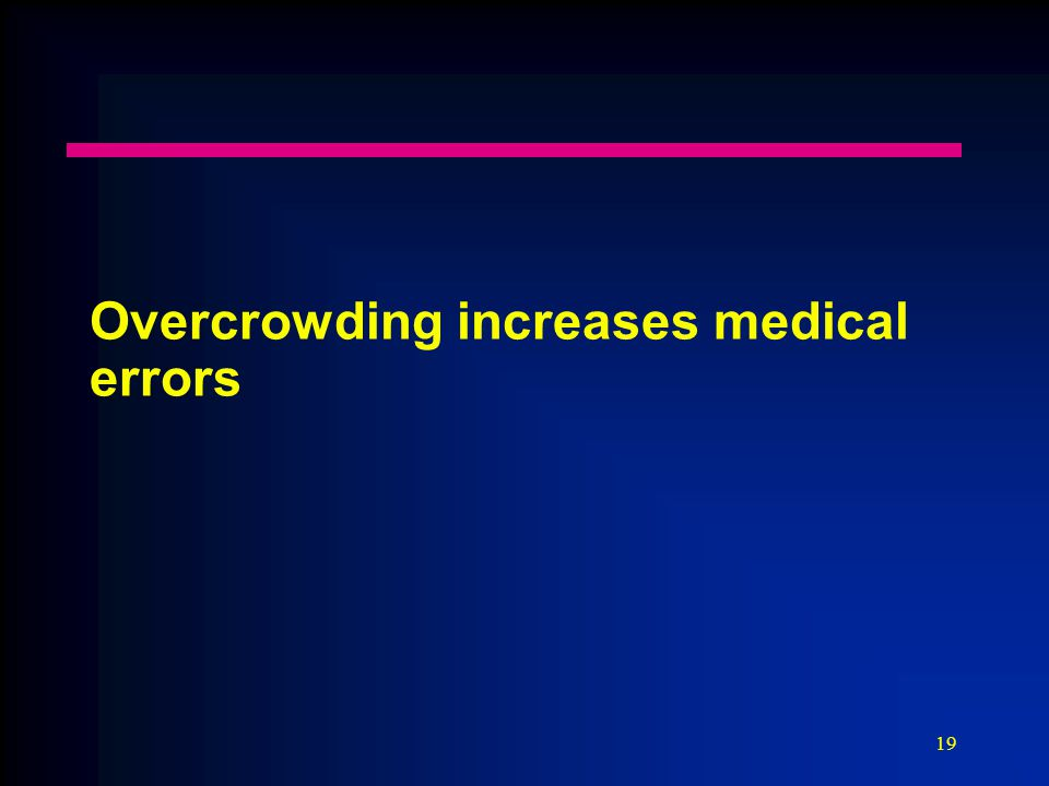 19 Overcrowding increases medical errors
