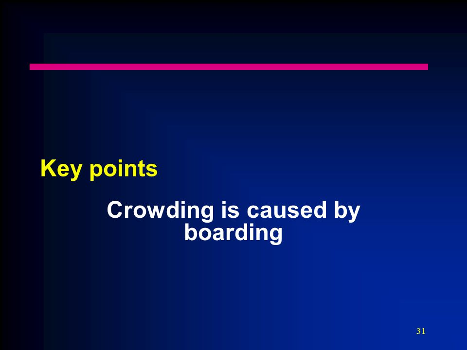 31 Key points Crowding is caused by boarding