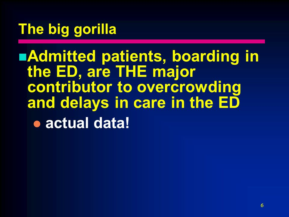 6 The big gorilla Admitted patients, boarding in the ED, are THE major contributor to overcrowding and delays in care in the ED actual data!