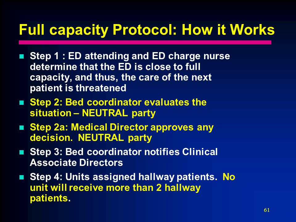 61 Full capacity Protocol: How it Works Step 1 : ED attending and ED charge nurse determine that the ED is close to full capacity, and thus, the care