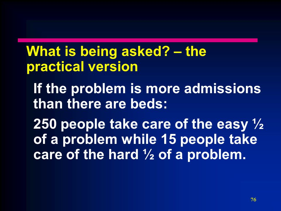 76 What is being asked? – the practical version If the problem is more admissions than there are beds: 250 people take care of the easy ½ of a problem