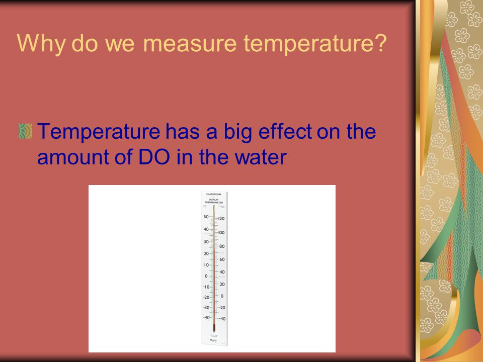 Why do we measure temperature Temperature has a big effect on the amount of DO in the water