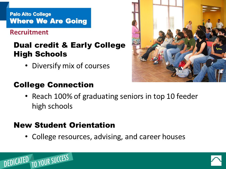 Dual credit & Early College High Schools Diversify mix of courses College Connection Reach 100% of graduating seniors in top 10 feeder high schools New Student Orientation College resources, advising, and career houses Palo Alto College Where We Are Going Recruitment
