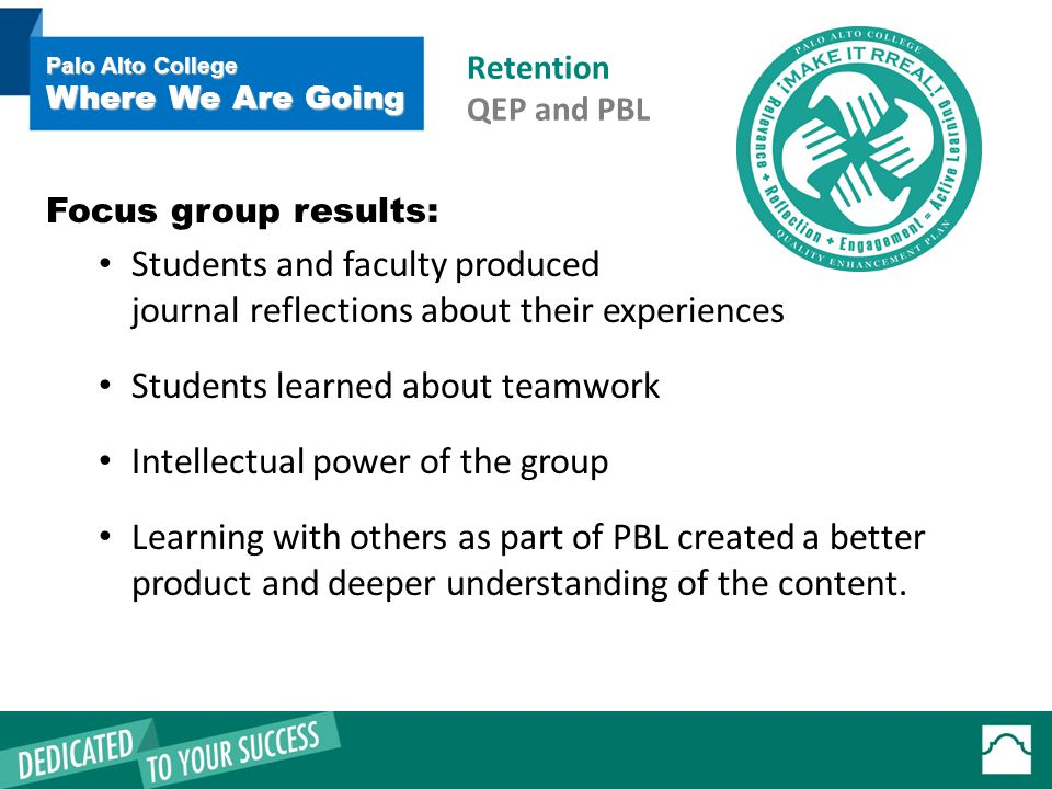 Focus group results: Students and faculty produced journal reflections about their experiences Students learned about teamwork Intellectual power of the group Learning with others as part of PBL created a better product and deeper understanding of the content.