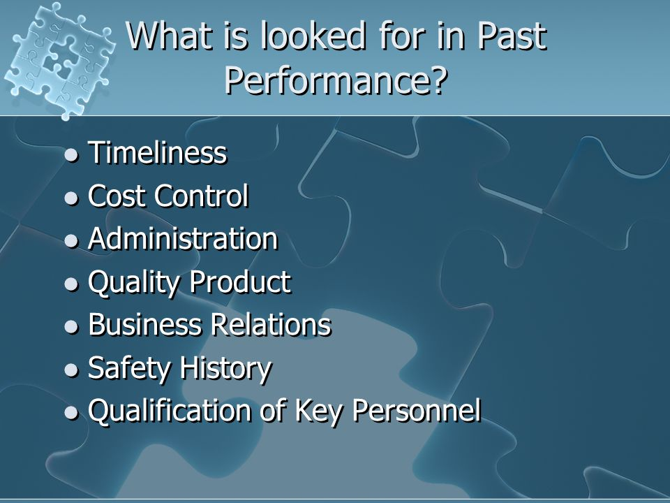 What is looked for in Past Performance.
