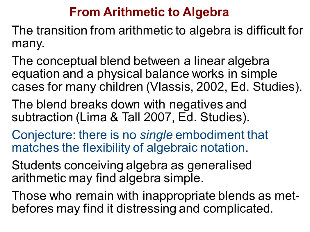 From Arithmetic to Algebra The transition from arithmetic to algebra is difficult for many.