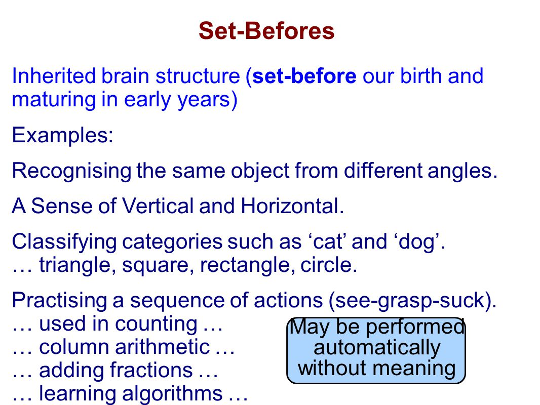 Inherited brain structure (set-before our birth and maturing in early years) Examples: Recognising the same object from different angles.