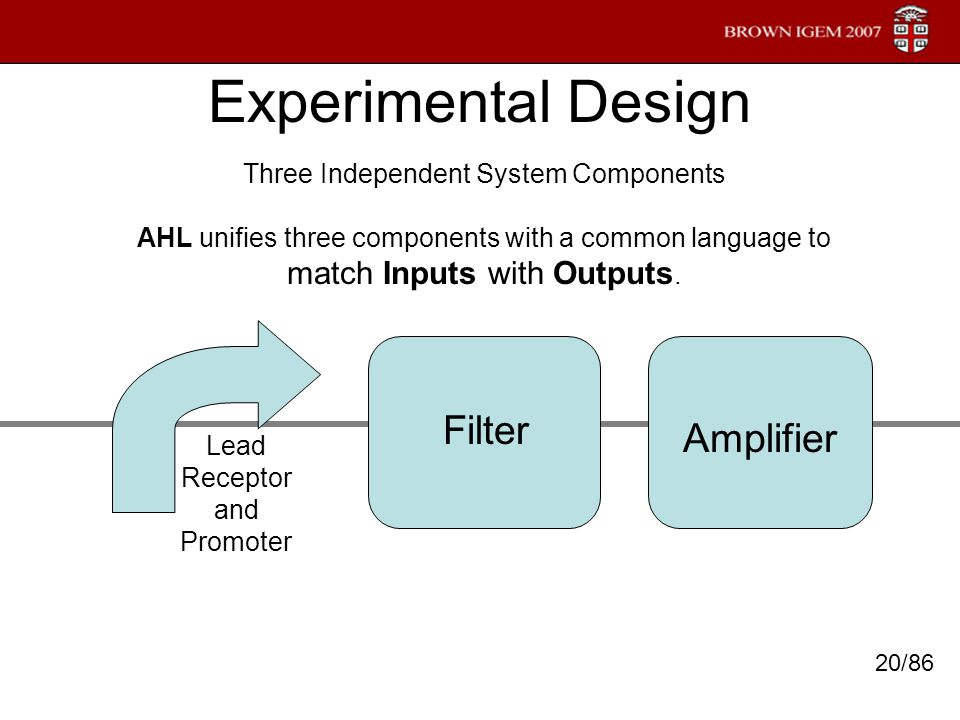 Experimental Design Three Independent System Components AHL unifies three components with a common language to match Inputs with Outputs. Lead Recepto