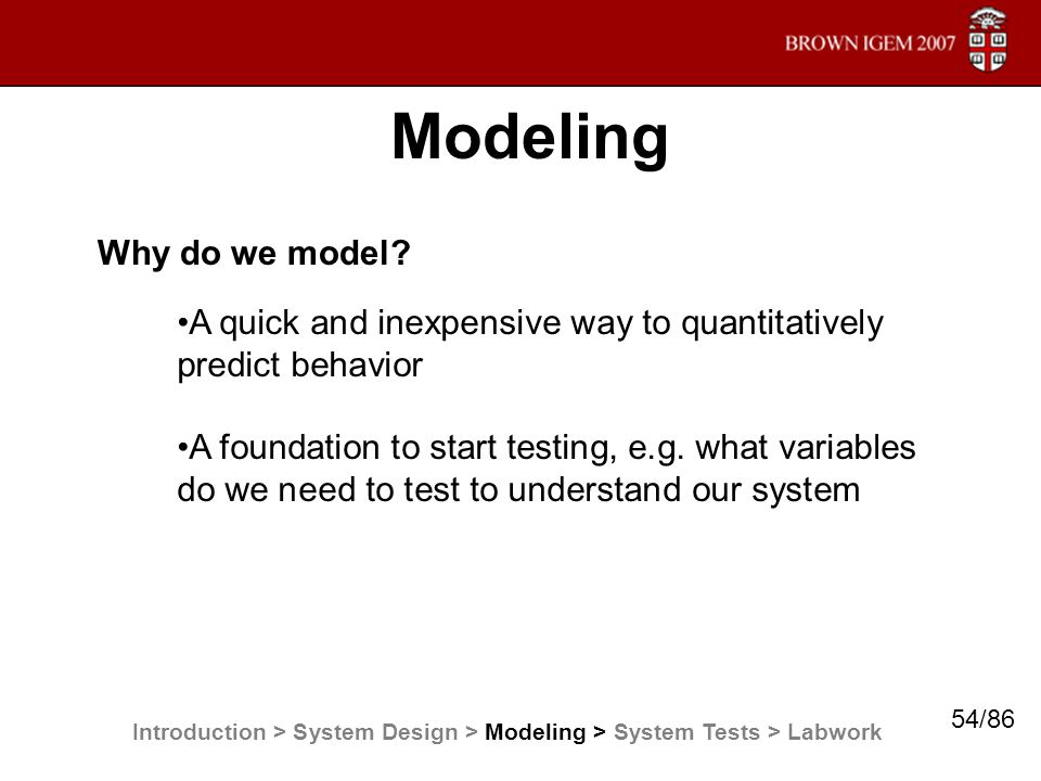Why do we model? Modeling Introduction > System Design > Modeling > System Tests > Labwork A quick and inexpensive way to quantitatively predict behav
