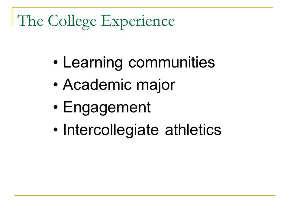 The College Experience Learning communities Academic major Engagement Intercollegiate athletics