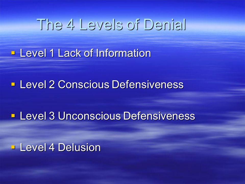 The 4 Levels of Denial  Level 1 Lack of Information  Level 2 Conscious Defensiveness  Level 3 Unconscious Defensiveness  Level 4 Delusion