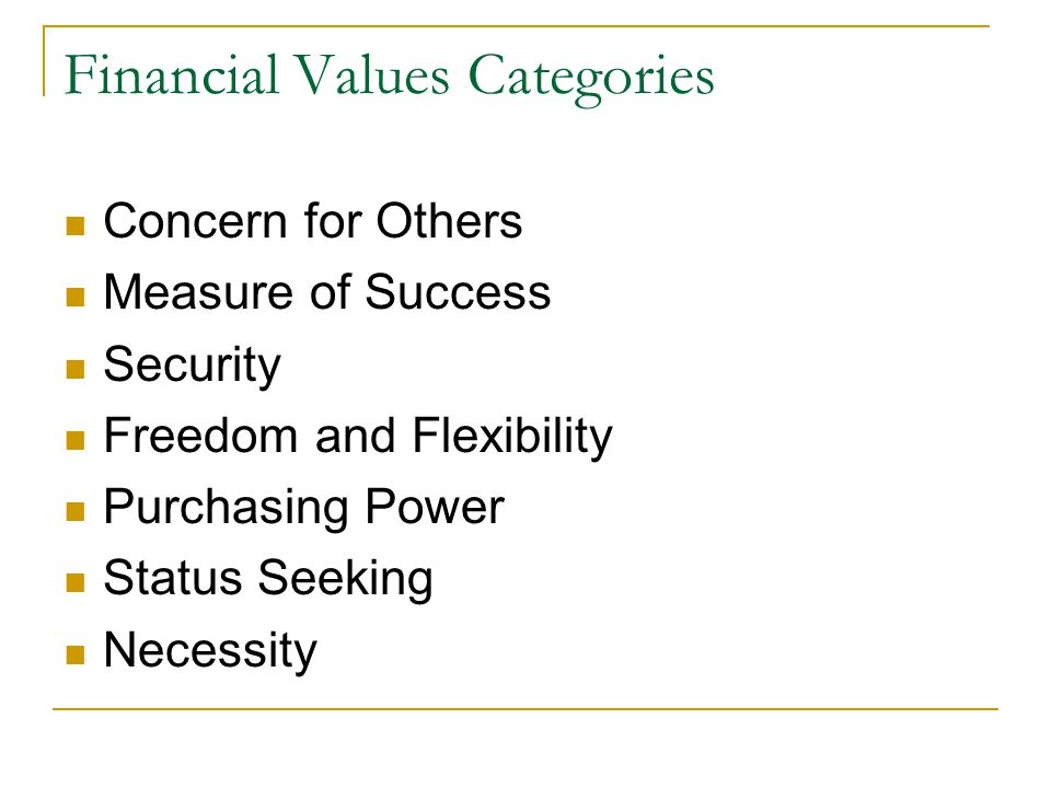 Financial Values Categories Concern for Others Measure of Success Security Freedom and Flexibility Purchasing Power Status Seeking Necessity