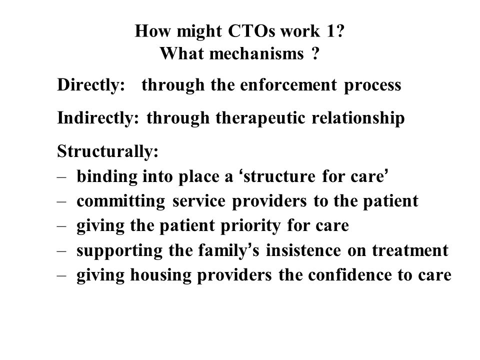 How might CTOs work 1. What mechanisms .