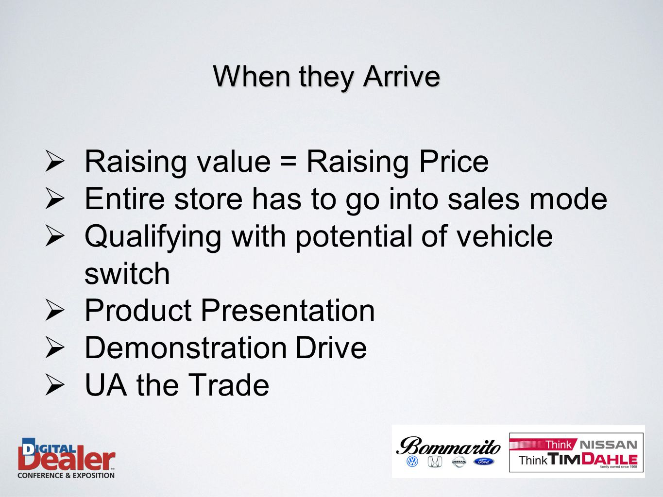  Raising value = Raising Price  Entire store has to go into sales mode  Qualifying with potential of vehicle switch  Product Presentation  Demonstration Drive  UA the Trade When they Arrive