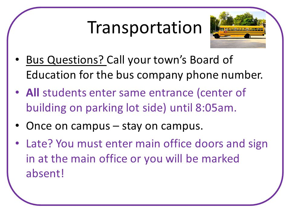 Transportation Bus Questions. Call your town's Board of Education for the bus company phone number.