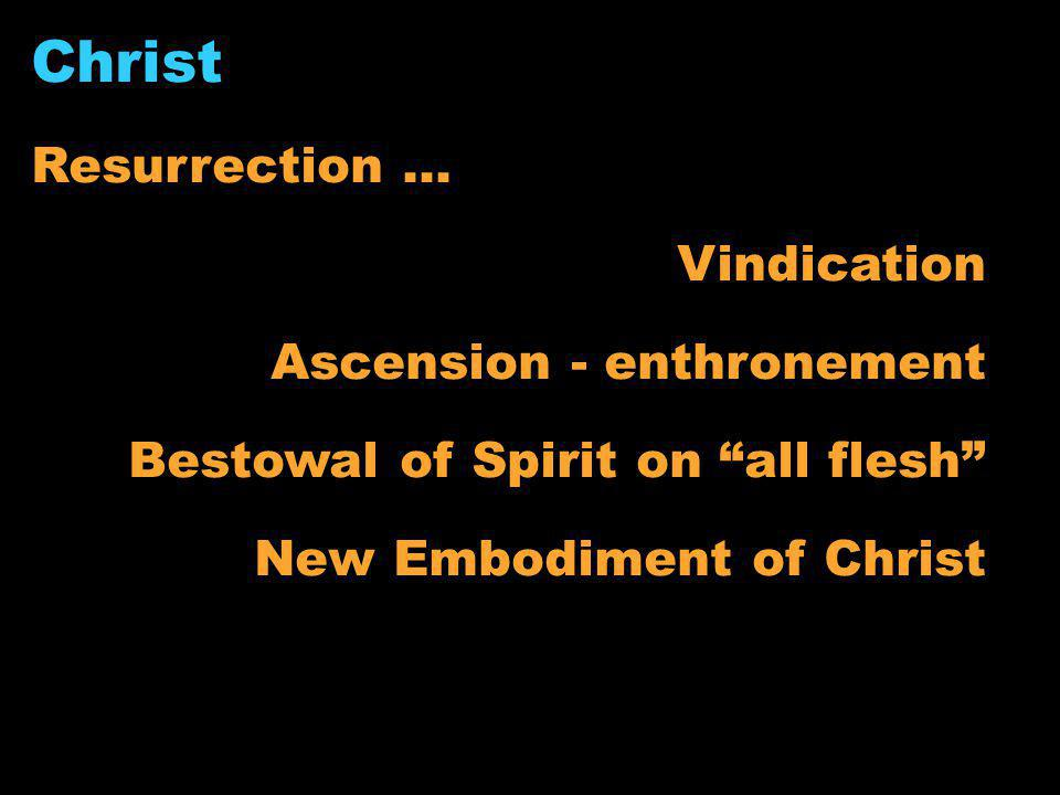 "Christ Resurrection... Vindication Ascension - enthronement Bestowal of Spirit on ""all flesh"" New Embodiment of Christ"