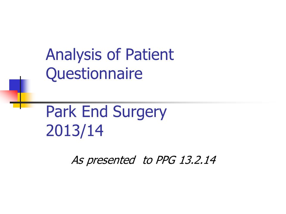 Analysis of Patient Questionnaire Park End Surgery 2013/14 As presented to PPG 13.2.14