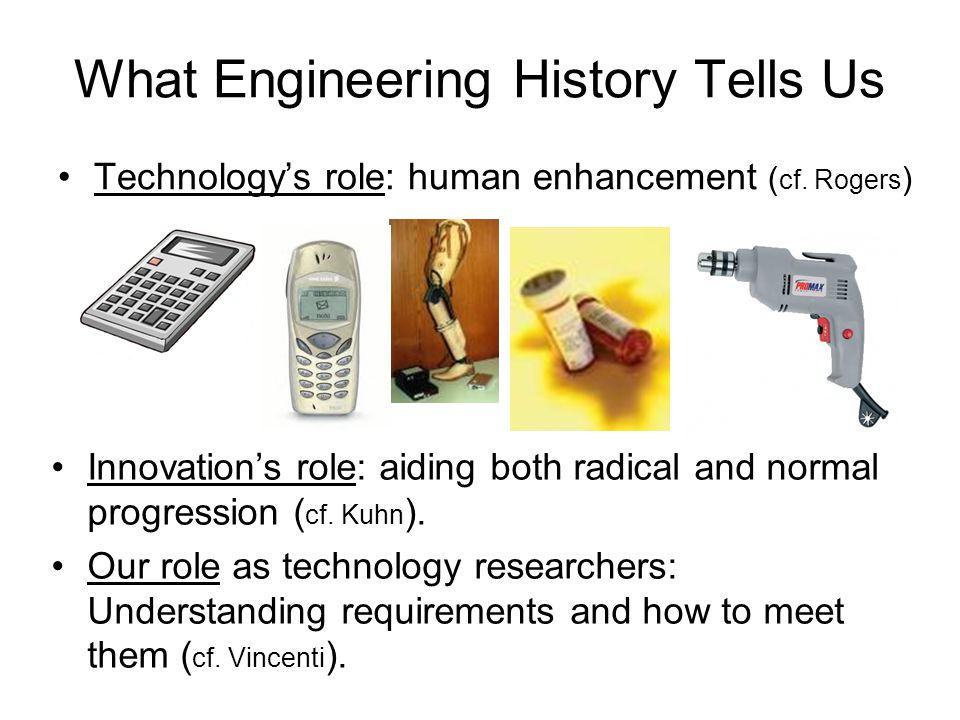 What Engineering History Tells Us Technology's role: human enhancement ( cf.