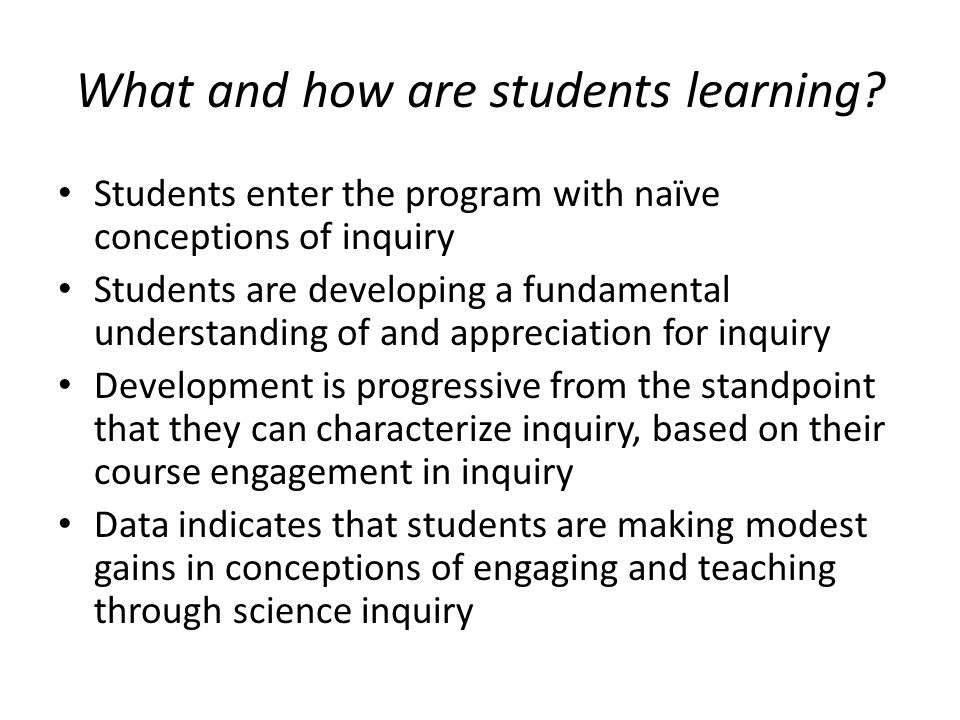 What and how are students learning.