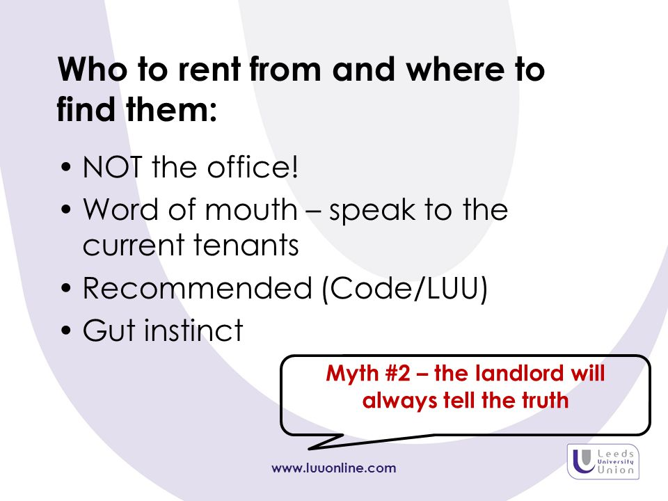 Who to rent from and where to find them: NOT the office.