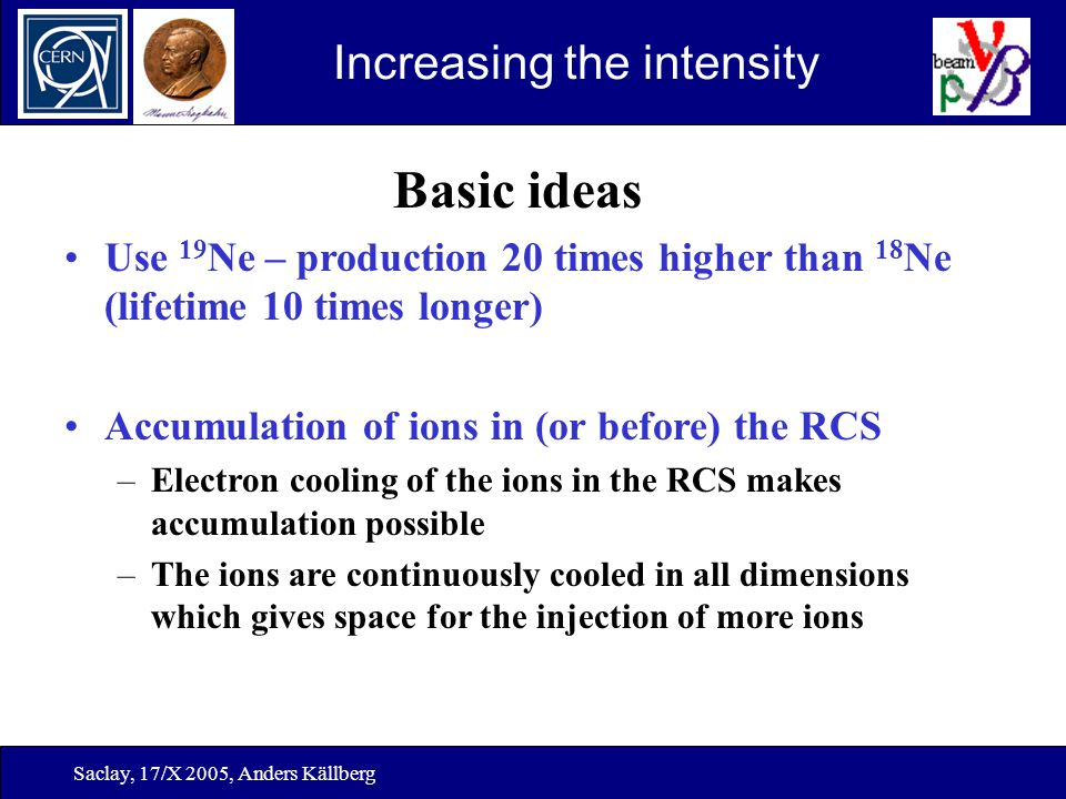 Saclay, 17/X 2005, Anders Källberg Increasing the intensity Basic ideas Use 19 Ne – production 20 times higher than 18 Ne (lifetime 10 times longer) A