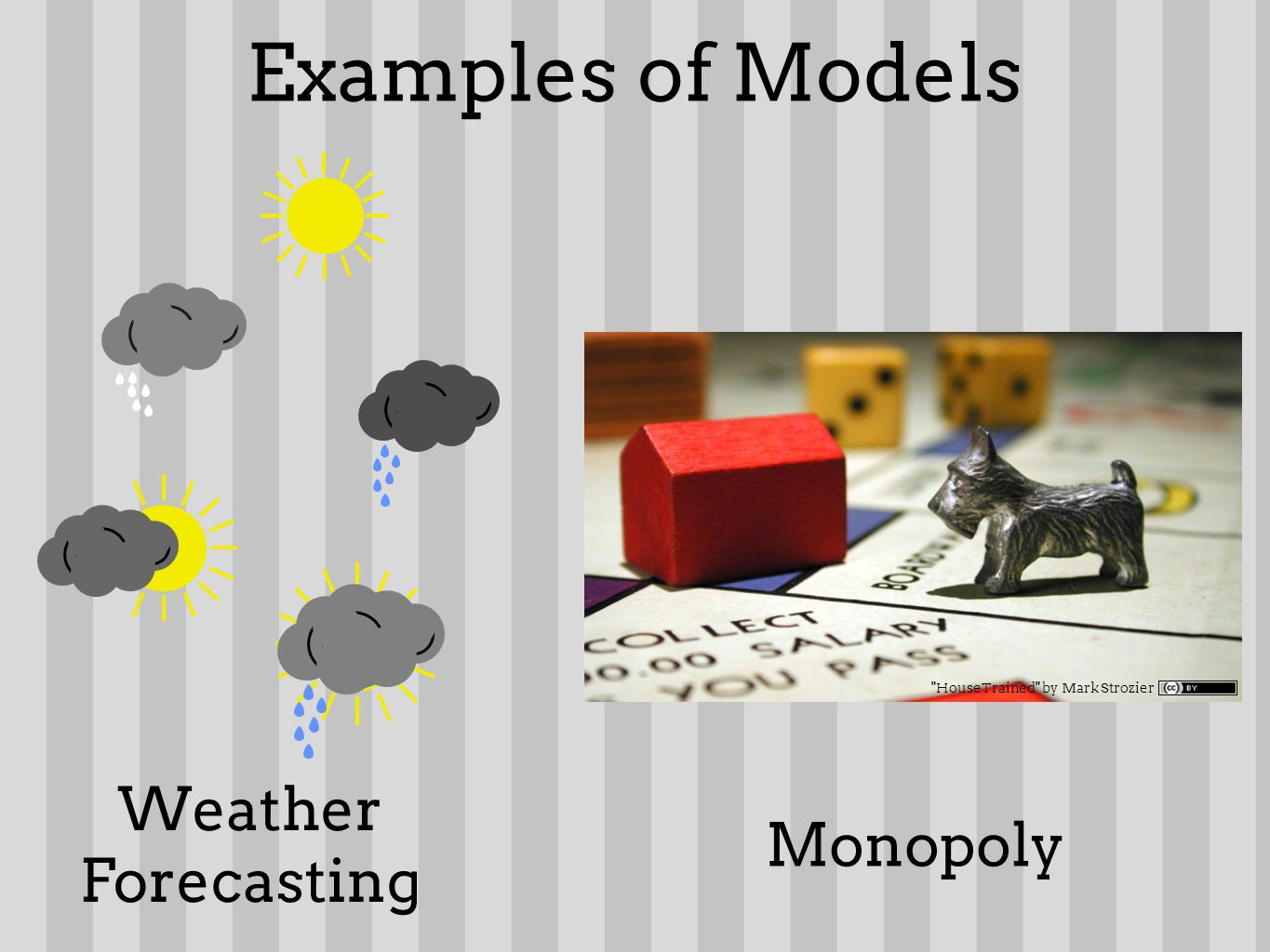 Examples of Models Weather Forecasting HouseTrained by Mark Strozier Monopoly