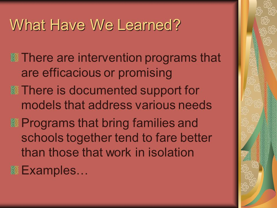 What Have We Learned? There are intervention programs that are efficacious or promising There is documented support for models that address various ne