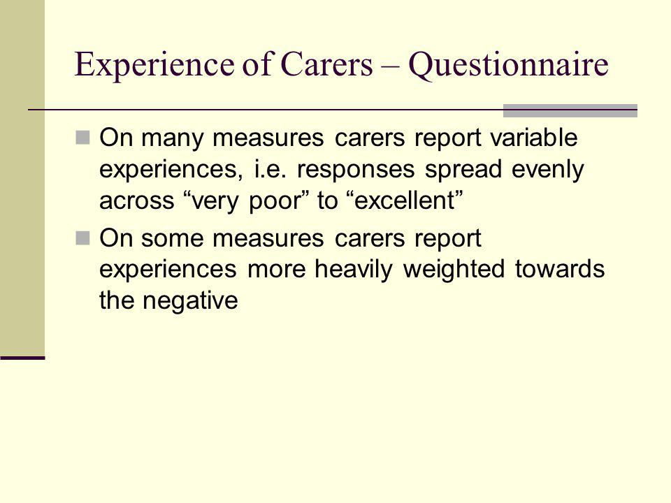 "Experience of Carers – Questionnaire On many measures carers report variable experiences, i.e. responses spread evenly across ""very poor"" to ""excellen"