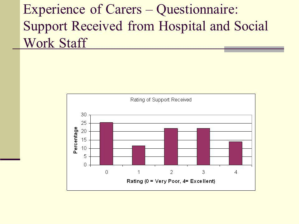Experience of Carers – Questionnaire: Support Received from Hospital and Social Work Staff