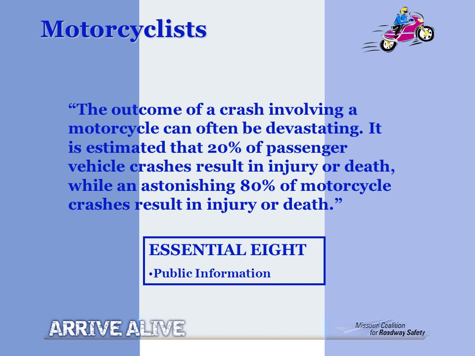 """Motorcyclists """"The outcome of a crash involving a motorcycle can often be devastating. It is estimated that 20% of passenger vehicle crashes result in"""