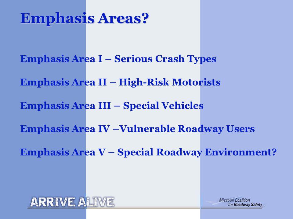 Emphasis Areas? Emphasis Area I – Serious Crash Types Emphasis Area II – High-Risk Motorists Emphasis Area III – Special Vehicles Emphasis Area IV –Vu