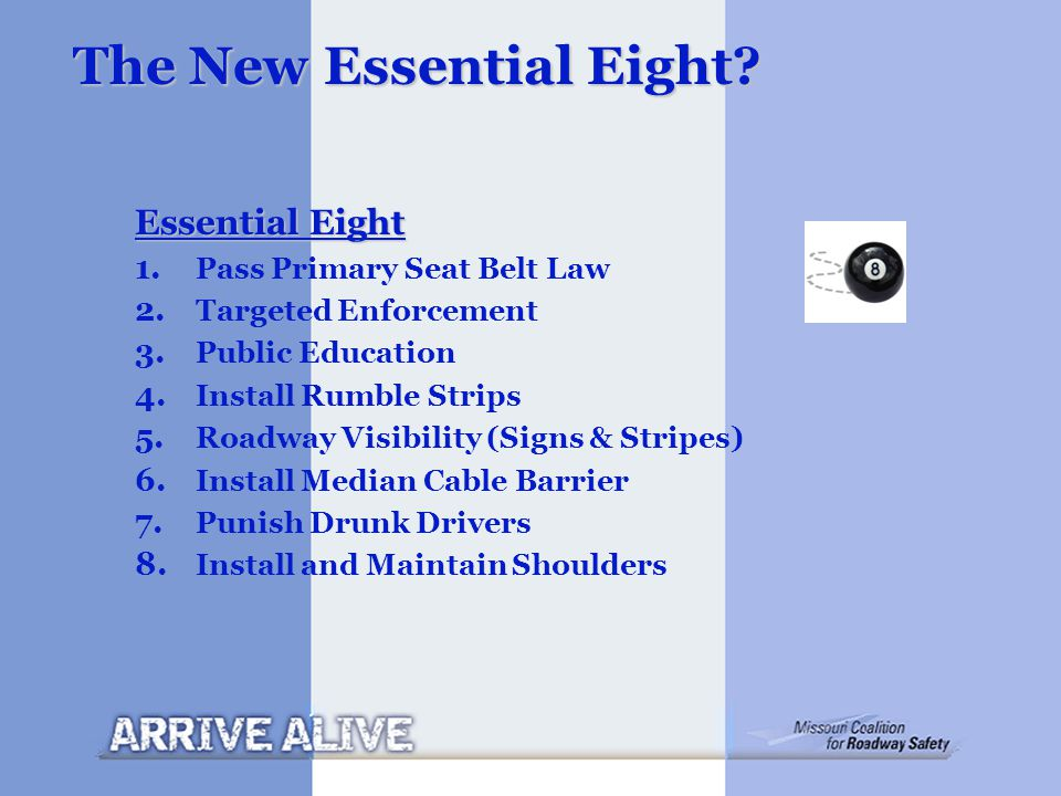 The New Essential Eight? Essential Eight 1. Pass Primary Seat Belt Law 2. Targeted Enforcement 3. Public Education 4. Install Rumble Strips 5. Roadway